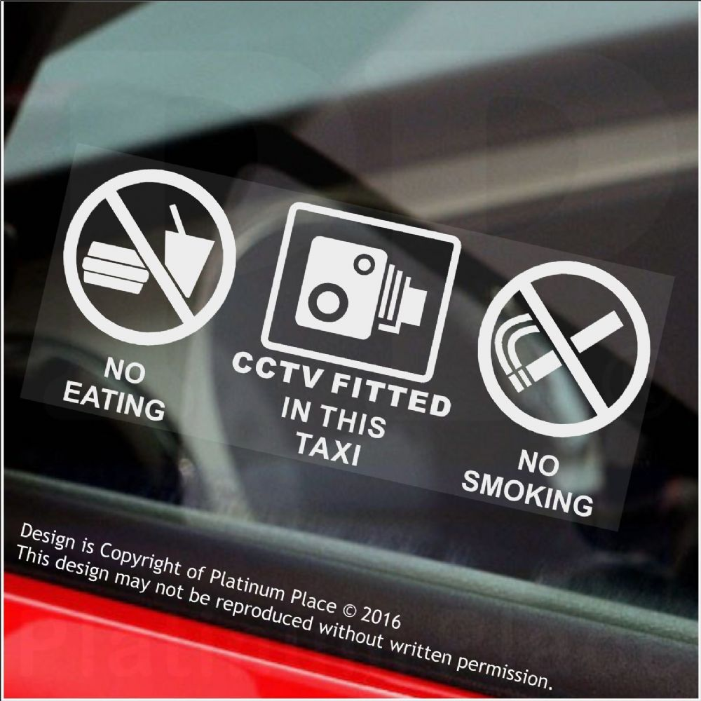 2 X No Eating No Drinking No Smoking Cctv Fitted Stickers